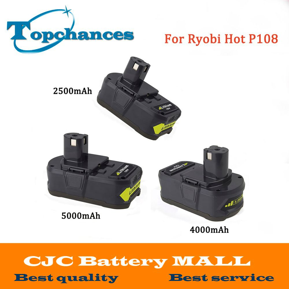 High Quality 18V 2500/4000mAh/5000mAh Li-Ion For Ryobi Hot P108 RB18L40 Rechargeable Battery Power Tool Battery For Ryobi ONE+