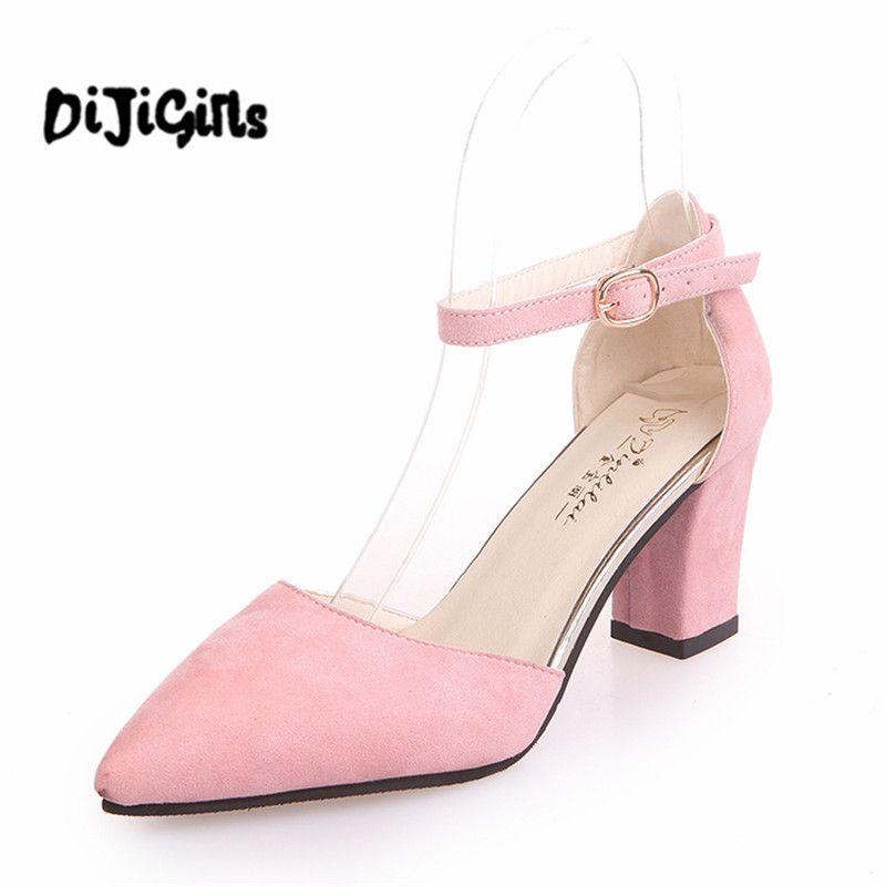 Primavera Zapatos de Mujer zapatos de tacón alto gruesos oficina señoras señalaron toe bombas de las mujeres zapatos de fiesta de mujer correa del tobillo sandalias