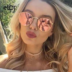 Elot retro pequeña ronda gafas de sol hombres mujeres vintage rosa espejo oval gafas de sol mujer moda marca diseñador UV400 rayos