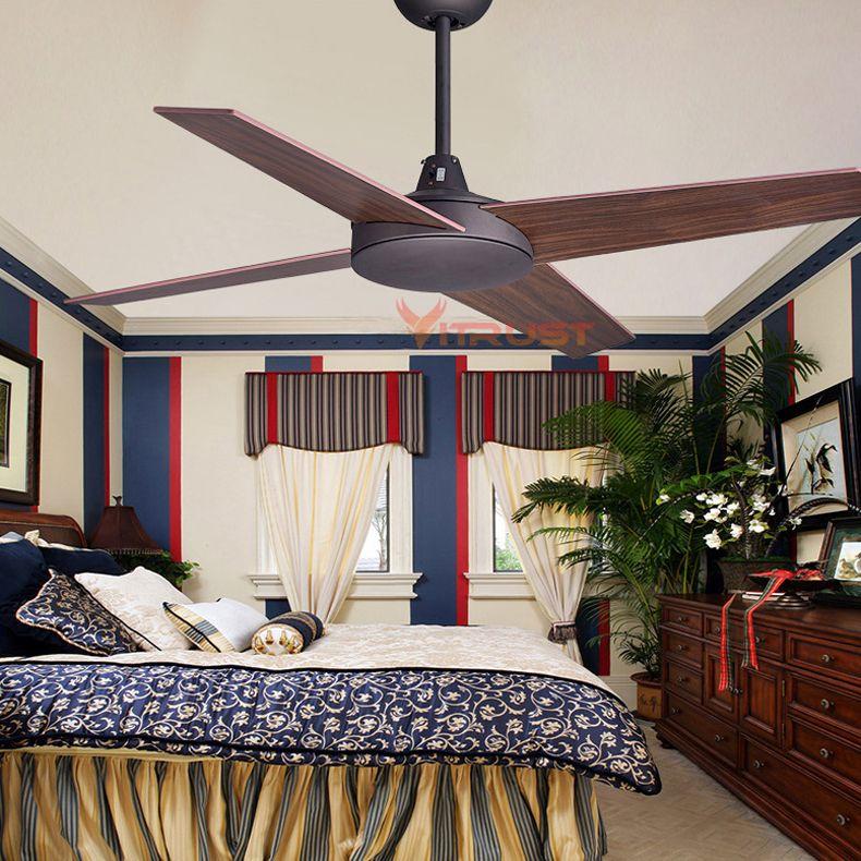 42/48 Inch European Vintage Ceiling Fans Industrial Wood Ceiling Fans Without Light Decorative Home Ceiling Fan