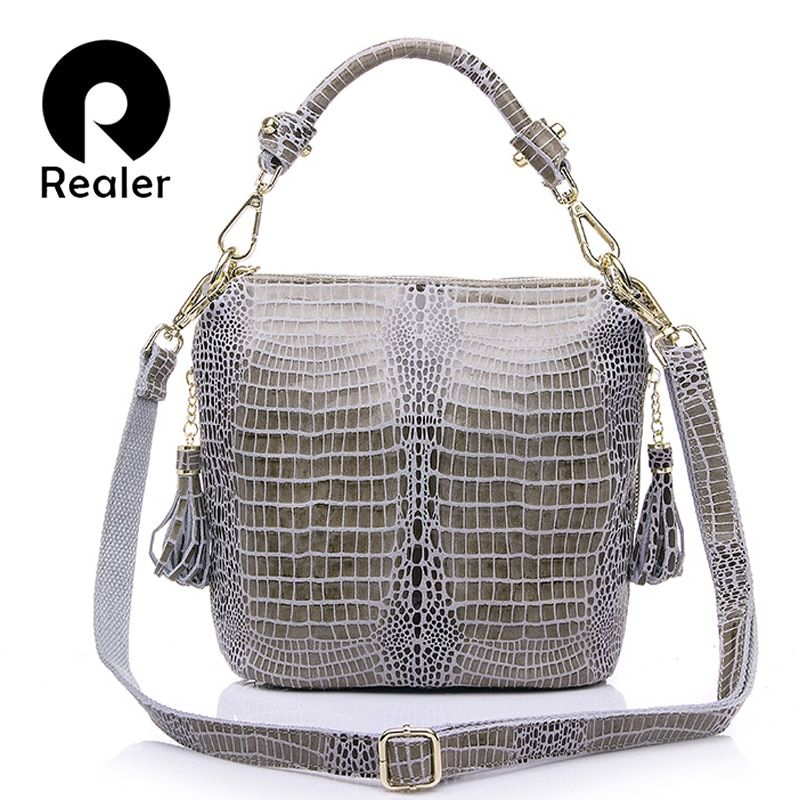 REALER brand women bag genuine leather handbag women small tote bag shoulder bags ladies classic serpentine pattern bucket bag