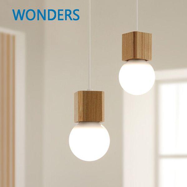 Europe du nord Vintage pendentif chêne bois rétro lampe 120 cm fil E27 douille bois lampe titulaire suspension luminaire sans ampoule
