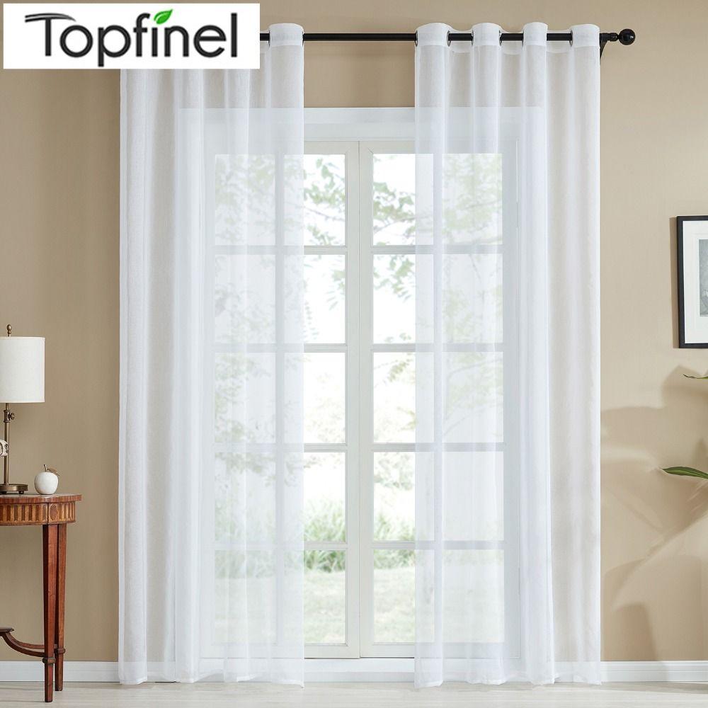 Rideaux transparents blancs simples modernes pour salon chambre Voile Tulle rideaux de fenêtre pour cuisine œillets crayon crochets plissés