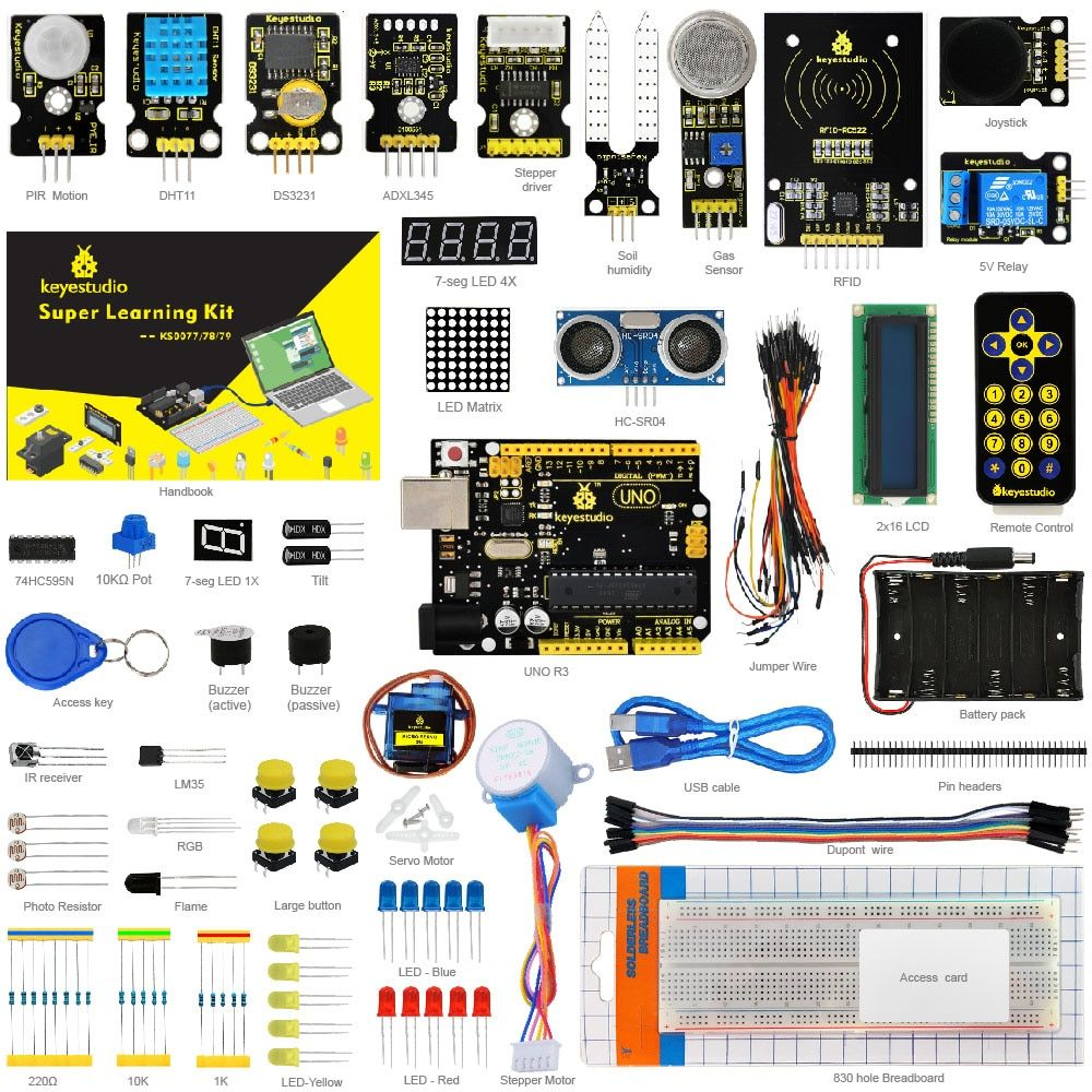 Keyestudio <font><b>Super</b></font> Starter kit/Learning Kit(UNO R3) for Arduino Education with 32 Projects +User Manual+ RFID 1602+PDF(online)