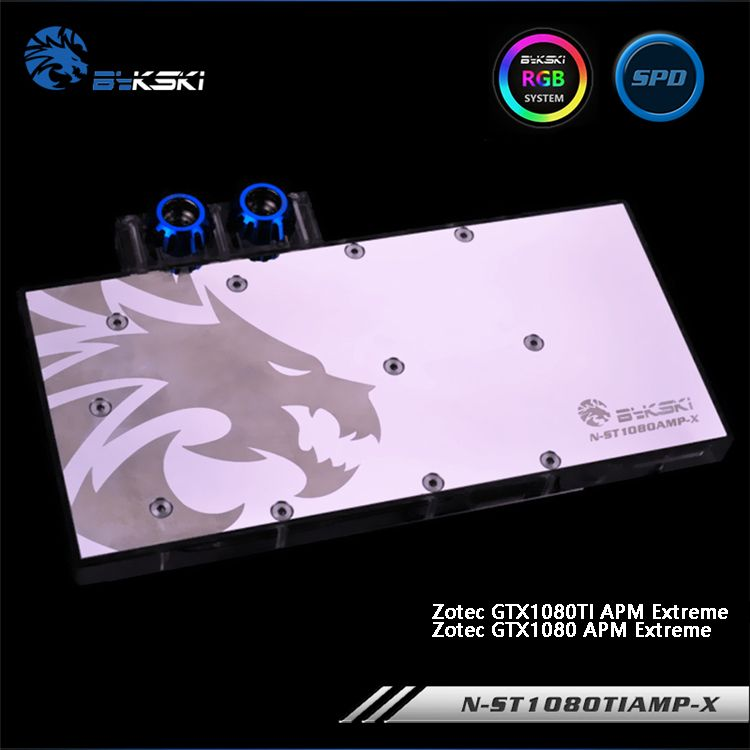 Bykski N-ST1080TIAMP-X Full Cover Graphics Card Water Cooling Block for Zotec GTX 1080TI/1080 APM Extreme