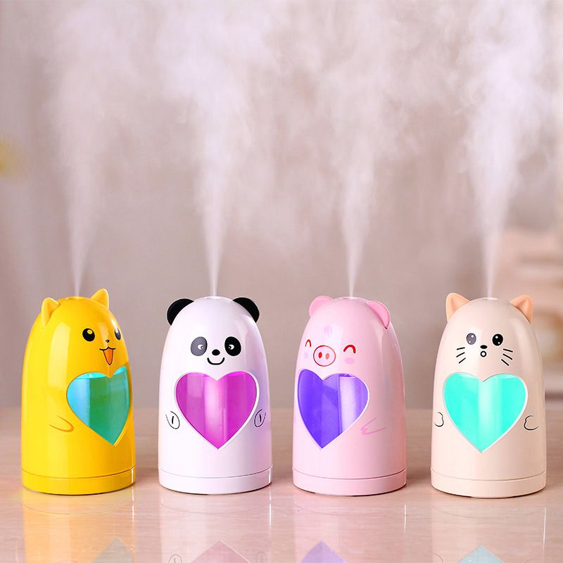 GRTCO Mini USB Cute Air Humidifier Silent Ultrasonic Diffuser Mist Maker Colorful Changing LED Night Light for Home Office Car