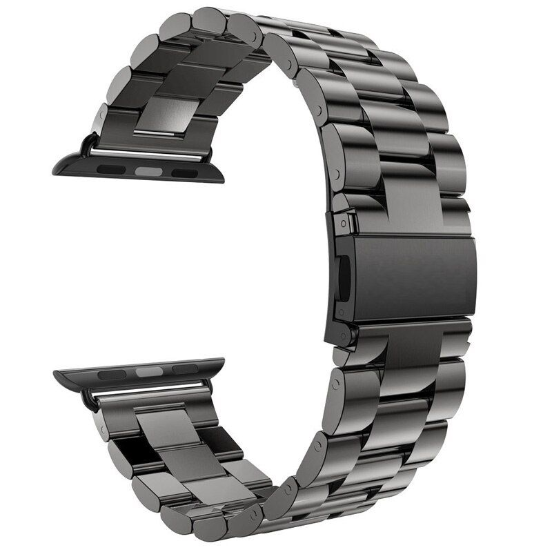 For Apple Watch Band 42mm Black Gold Stainless Steel Bracelet Buckle Strap <font><b>Clip</b></font> Adapter for Apple Watch Band 38mm for iWatch