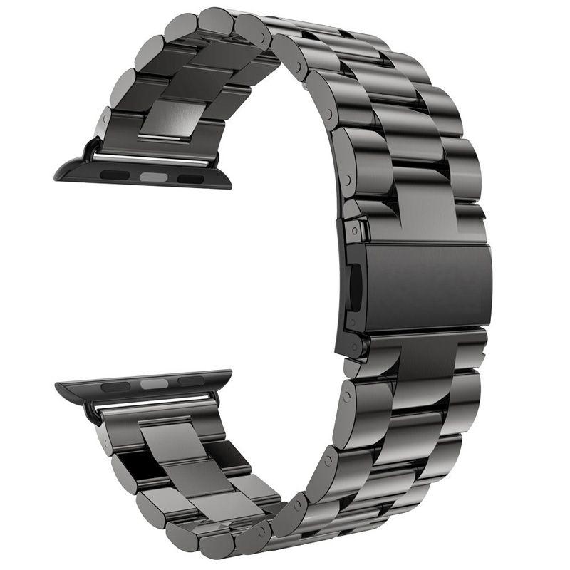 Pour Apple Bande de Montre 42mm Noir Or En Acier Inoxydable Bracelet boucle Sangle Clip Adaptateur pour Apple Bande de Montre 38mm pour iWatch