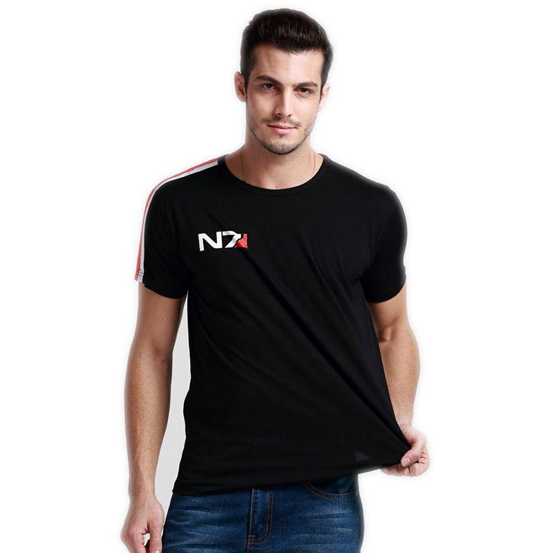 N7 Mass Effect 3 t Hemd Männer Systeme Allianz Military Emblem Spiel Top T O neck T-Shirt Baumwolle Männer Freies versand Großhandel