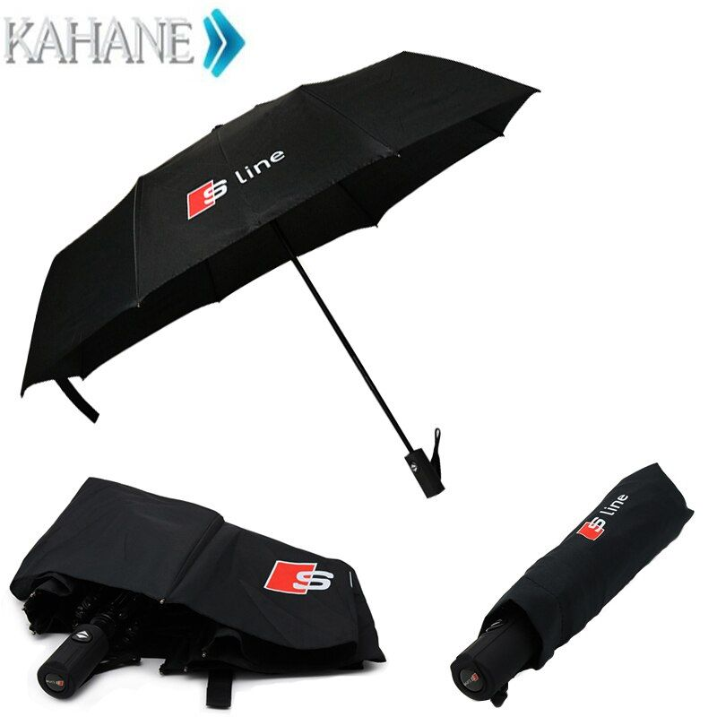 High quality Automatic folding umbrella men rain windproof Parasol For Audi a3 a4 b6 a6 c5 c6 b8 quattro sline car accessories