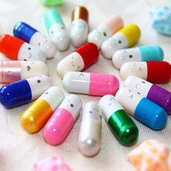 50 pcs/lot Pilule Capsule Message Lettre Kawaii Émoticône Sourire Pilule Amour Message Vide Capsule Enveloppe Lettre Papier pour Enfants