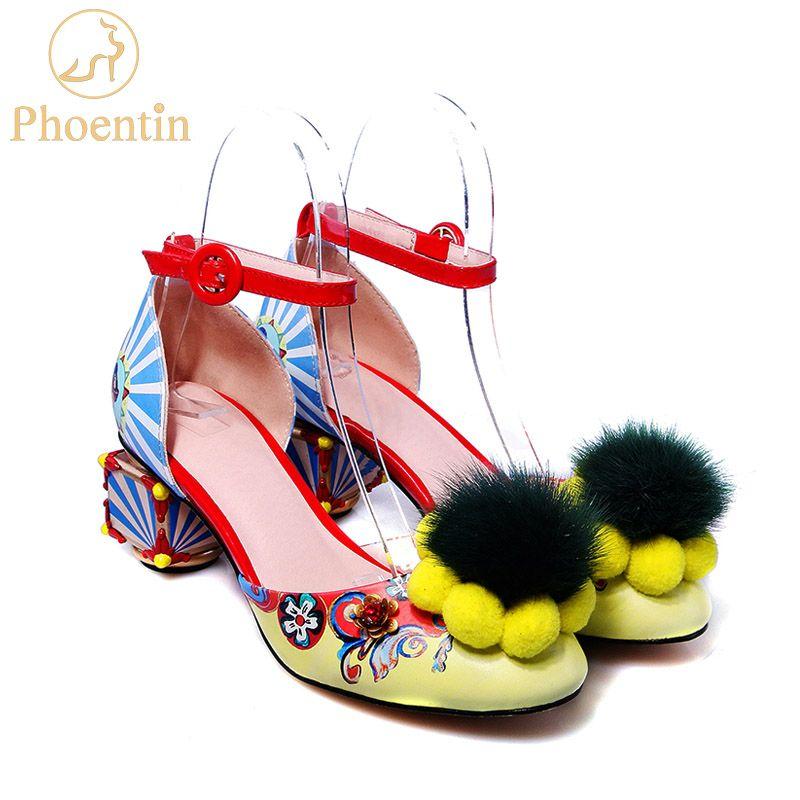 Phoentin ankle strap buckle women's fur pumps colorful print flower Women's shoes novelty strange heels party woman shoes FT269