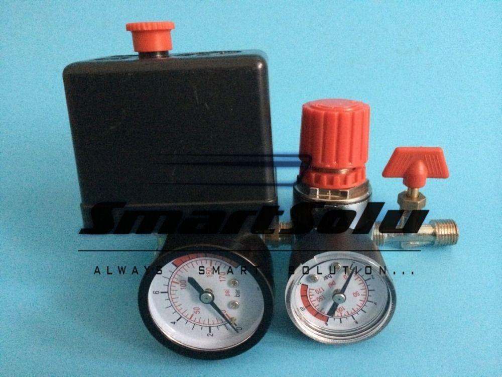 Free shipping 7.25-125PSI Air Compressor Pressure Switch Control15A 240V/AC Adjustable Air Regulator Valve Compressor Four Holes