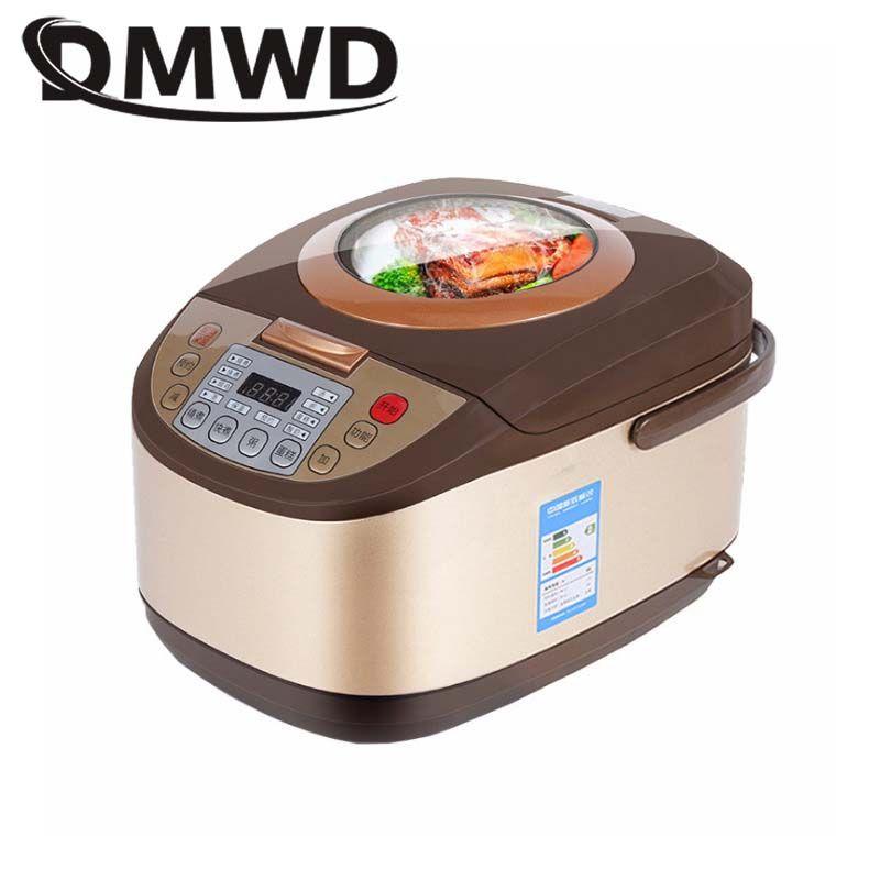 DMWD Elektrische Reiskocher 5L Timing Reservierung Lebensmittel Heizung Druck Kochen Dampfer 2-8 Menschen Suppe Eintopf Topf Kuchen joghurt Maker