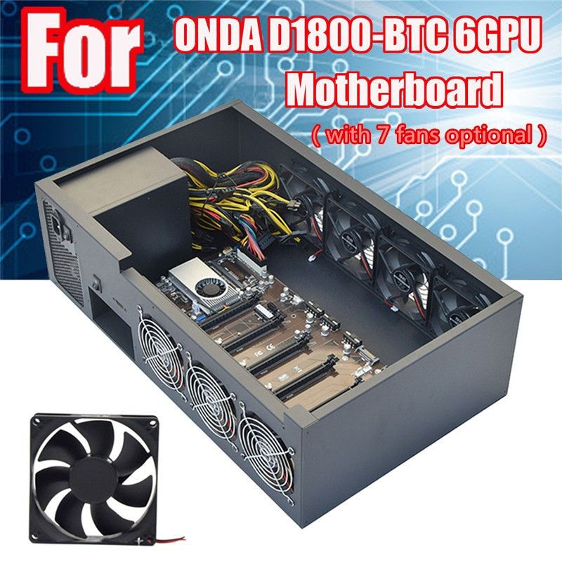 6GPU Crypto Coin Open Air Mining Server Frame Rig Graphics Case /with 7 Fans Optional Computer Mining Case Frame Server Chassis