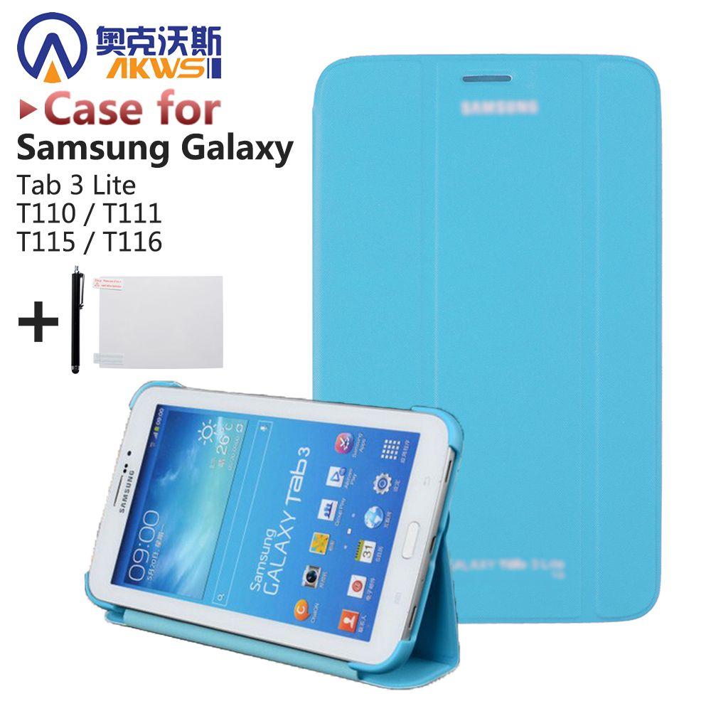 De luxe Dur Shell Tablet Case De Couverture Pour Samsung Galaxy Tab 3 Lite 7.0 T110 T111 T115 T116 (SM-T110) + écran Protecteur + Stylo