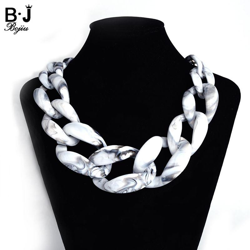 Nouveau Mode Chine sautoirs colliers gothique colliers pour femmes blanc noir résine lien chaîne collier NK1002
