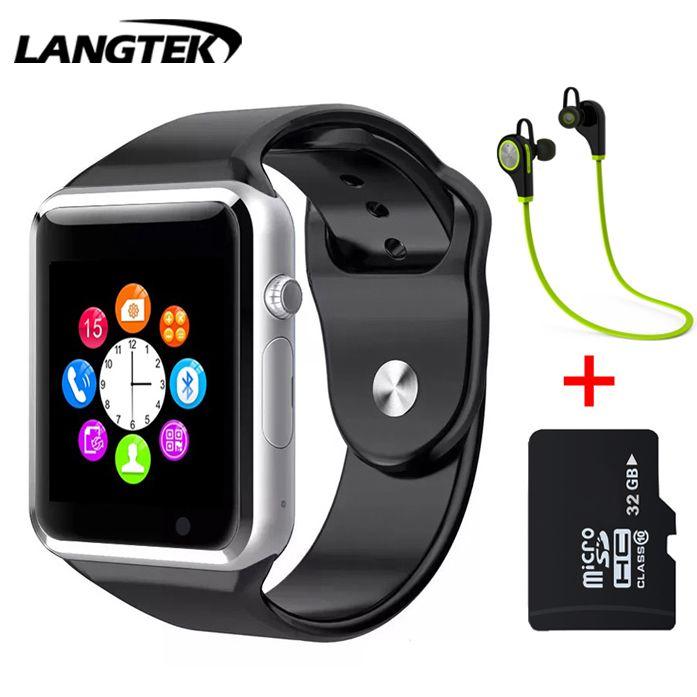 Langtek Bluetooth Smart часы A5 наручные Спорт Поддержка sim-карта TF умный Браслет для Android телефон с Камера