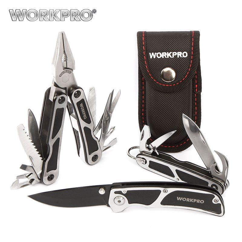 WORKPRO 3PC Camping Tool Set Multi Pliers <font><b>Tactical</b></font> knife Saw Bottle Opener Scissor Screwdriver Survival Tool Kits