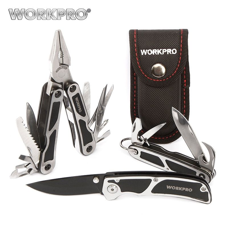 Workpro 3 шт. кемпинг набор инструментов multi Щипцы для наращивания волос тактический нож Пилы открывалка для бутылок scissor Отвёртки инструмент вы...