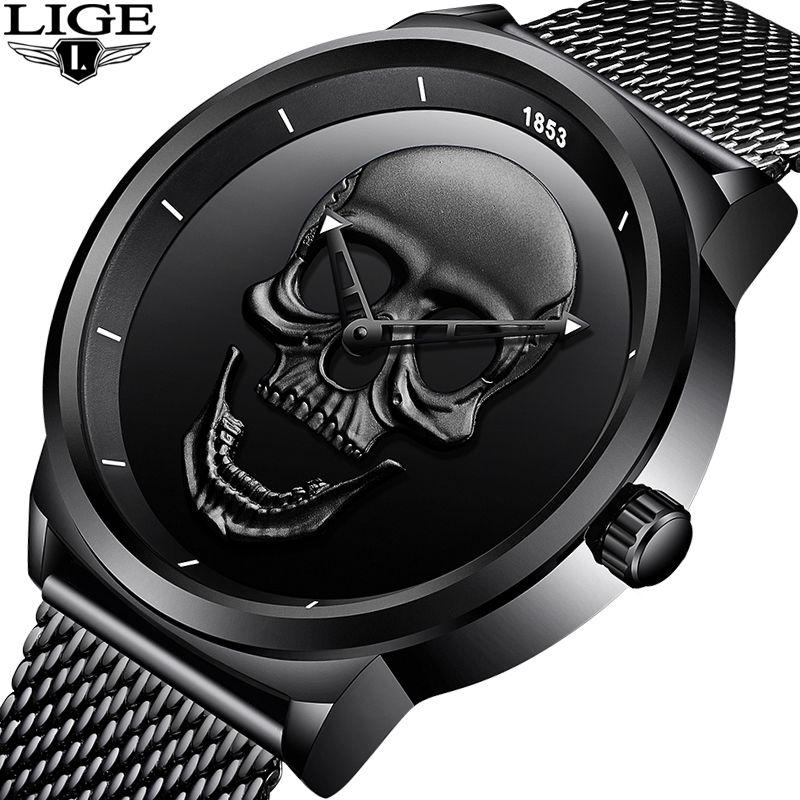 2018LIGE Brand Cool punk style Pirate Skeleton Skull Quartz Mens Watches Mesh Steel sports Black Watch Men Relogio Masculino+Box