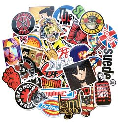 52pcs/lot Retro rock band music Stickers Grean Day RHCP Dead Kennedys For guitar suitcase skateboard DIY waterproof decals