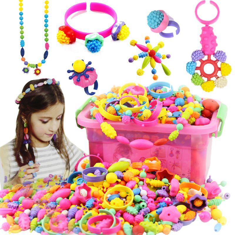 No cuerda Cadena Perlas Componen Juguetes Rompecabezas Juguetes de BRICOLAJE Para Niños Collar de La Joyería Pulsera Kit de Construcción de Bloque Educativo juguete