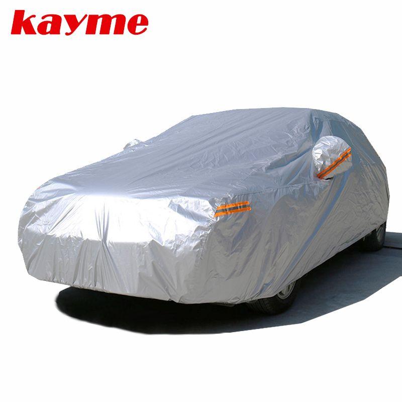 Kayme 210T imperméable à l'eau pleine bâches de voiture protection solaire extérieure uv, poussière pluie neige protection, universel Fit suv berline hayon