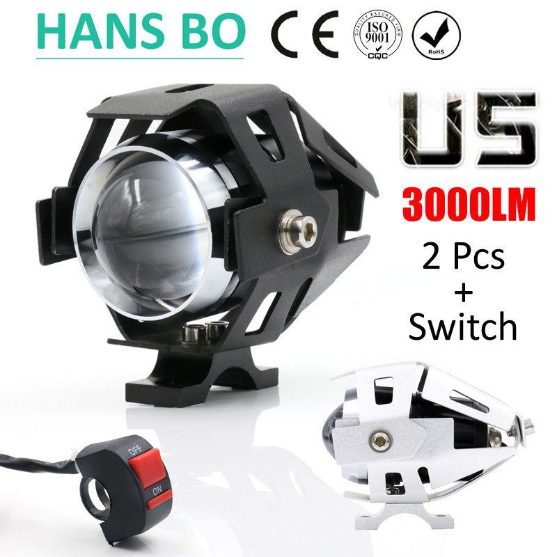 2PCS LYLLA Motorcycle LED Headlight 125W 3000LM U5 Waterproof Driving Spot Head <font><b>Lamp</b></font> Fog Light Switch Moto Accessories 12V 6000K