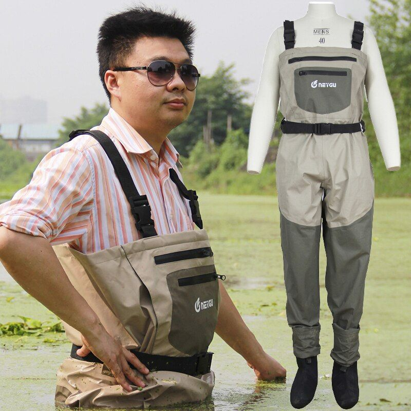 Neygu Breathable Stockingfoot Chest Wader , Insulated Hunting and Fishing Wader with Fleece Lined Hand Warmer Pocket