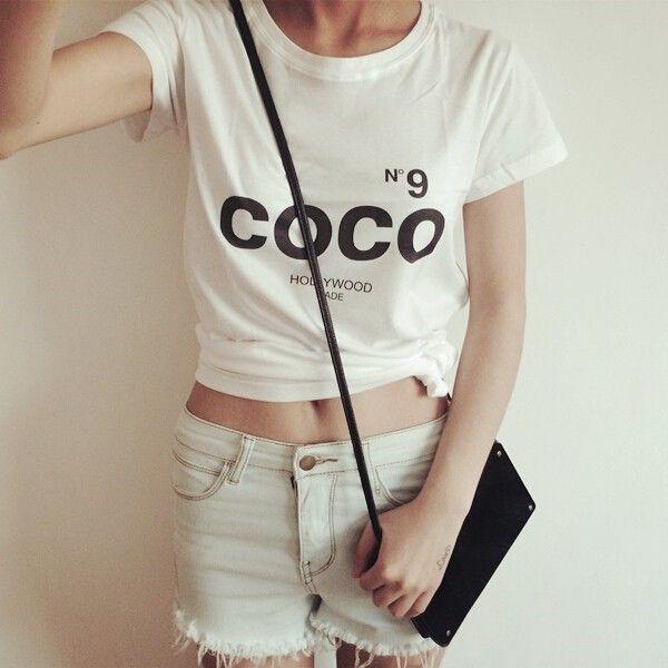 COCO Nouvelle Marque De Mode Femmes t-shirt En Coton À Manches Courtes D'été Lettre Impression t-shirt Casual Femmes Hauts T-shirts Grande taille