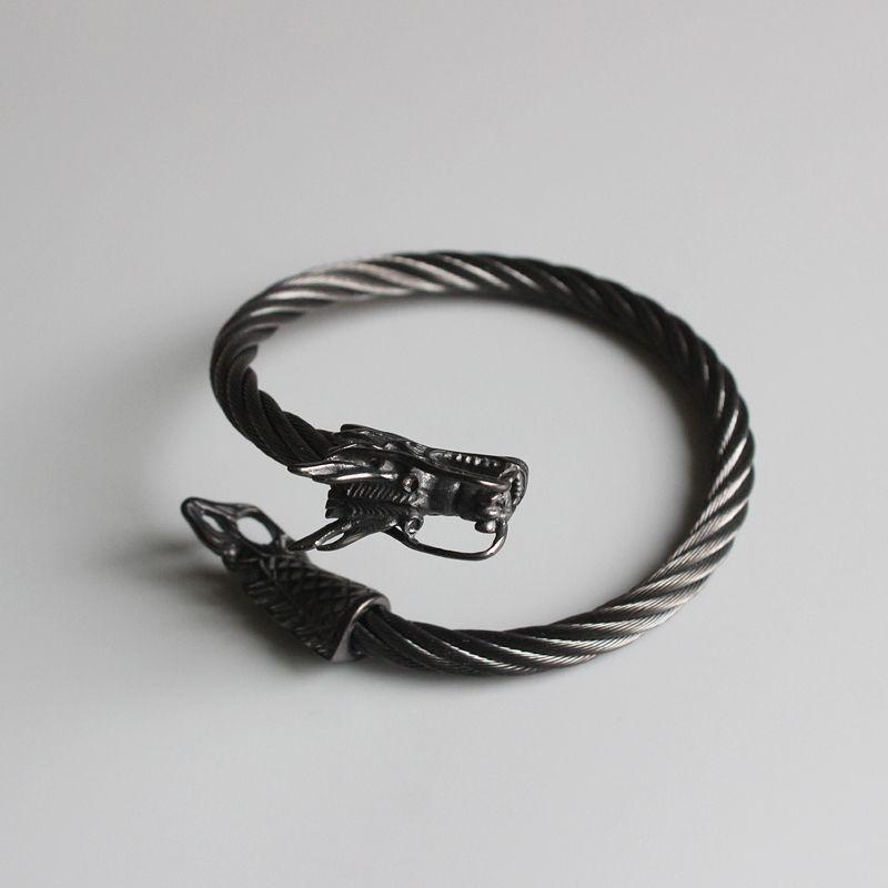 2017 Fashion 7mm Stainless steel bracelet black Wia Dragon head Charm bracelet Open Bangle For Men Women Punk Jewelry Handmade