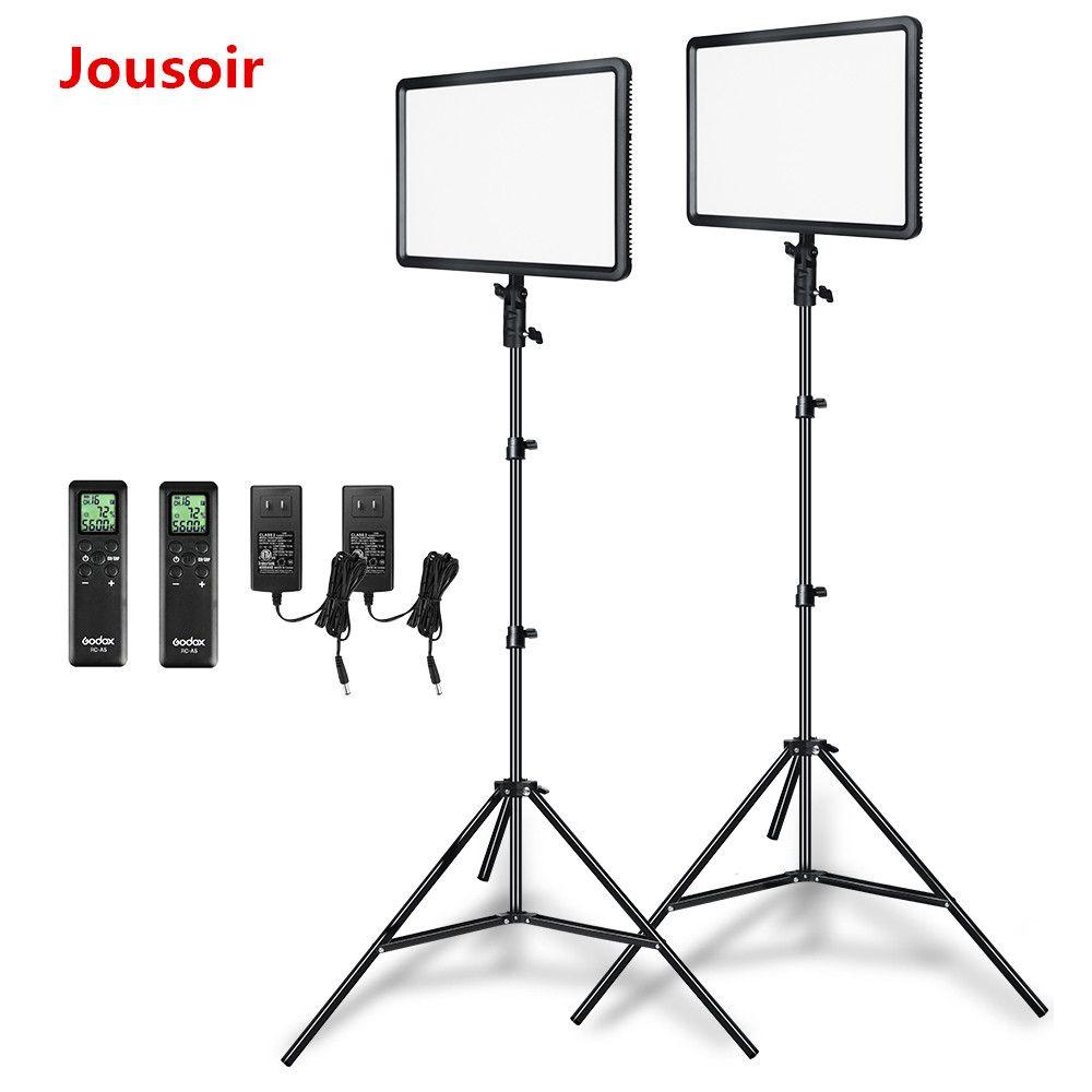 Godox 2pcs LEDP260C Ultra-thin 30W 3300-5600k LED Video Light Panel Lamp with 2pcs 2m Light Stand for Video Studio Lights CD50