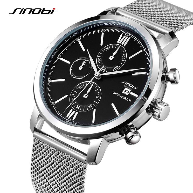 SINOBI Uhren Männer Edelstahl Quarz Armbanduhr Multifunktions Herren Business Silber Uhren Relogio Masculino 2018 #9542