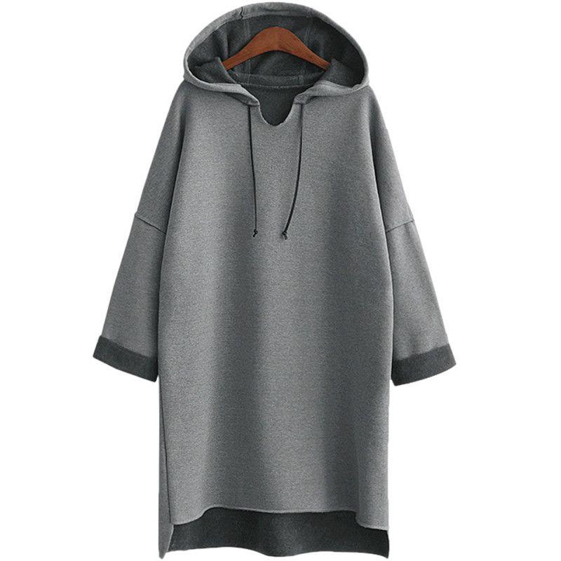 2017 Autumn Winter Women Long Hoodies Hoody Plus Size 3Xl 4Xl XXXl Plain Grey Fleece Warm Female Hoodie Sweatshirt