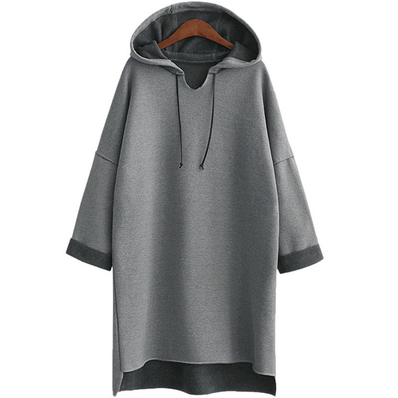 2017 <font><b>Autumn</b></font> Winter Women Long Hoodies Hoody Plus Size 3Xl 4Xl XXXl Plain Grey Fleece Warm Female Hoodie Sweatshirt