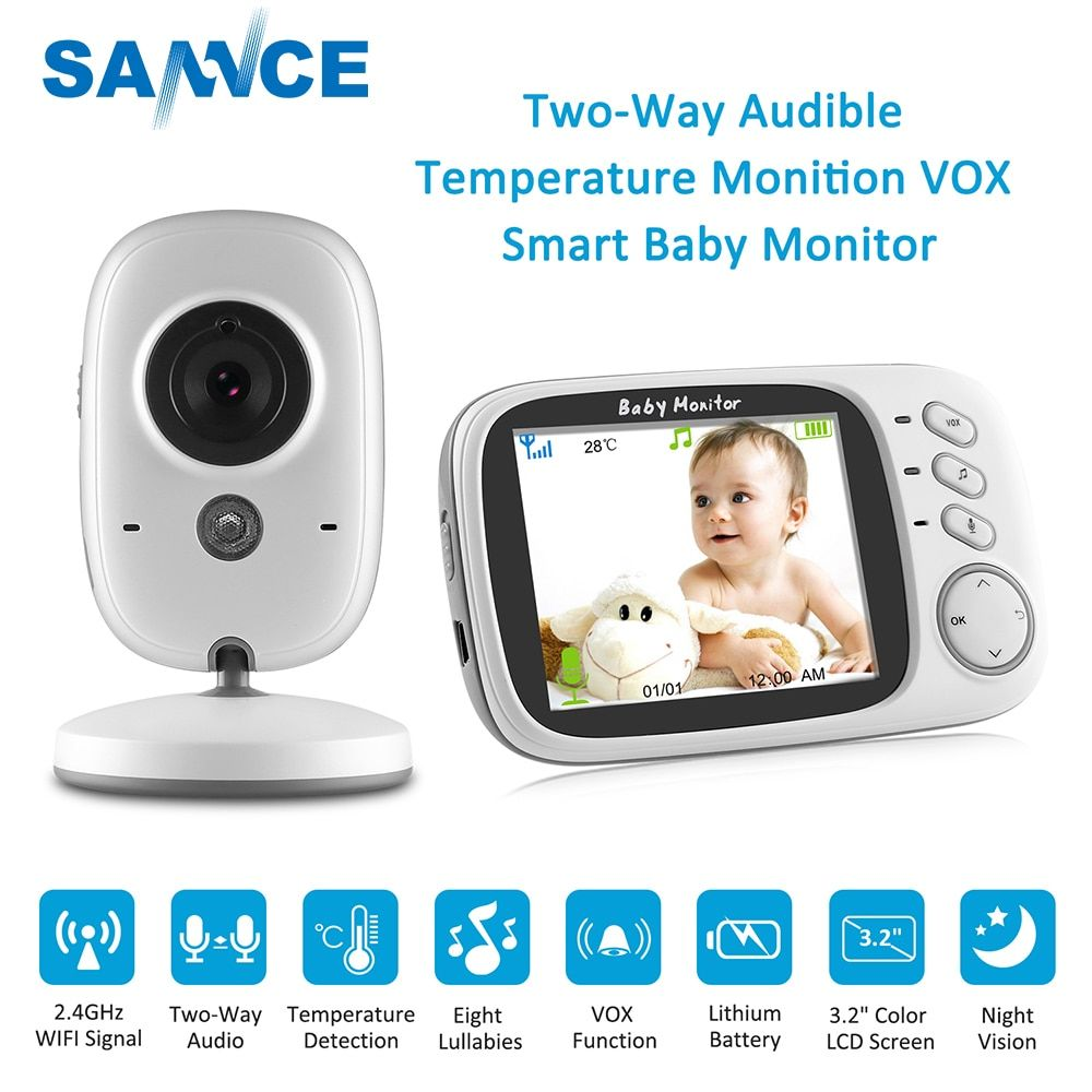 SANNCE 3.2 inch Wireless Video Color Baby Monitor 2 way Talk Baby Nanny Security Camera Night Vision Temperature Monitoring