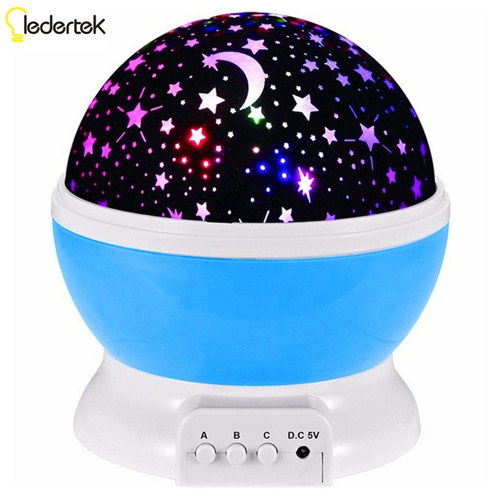 LEDERTEK Hot sell Romantic New Rotating Star Moon Sky Rotation Night Projector Light with high quality For Babys Lamp (Blue)