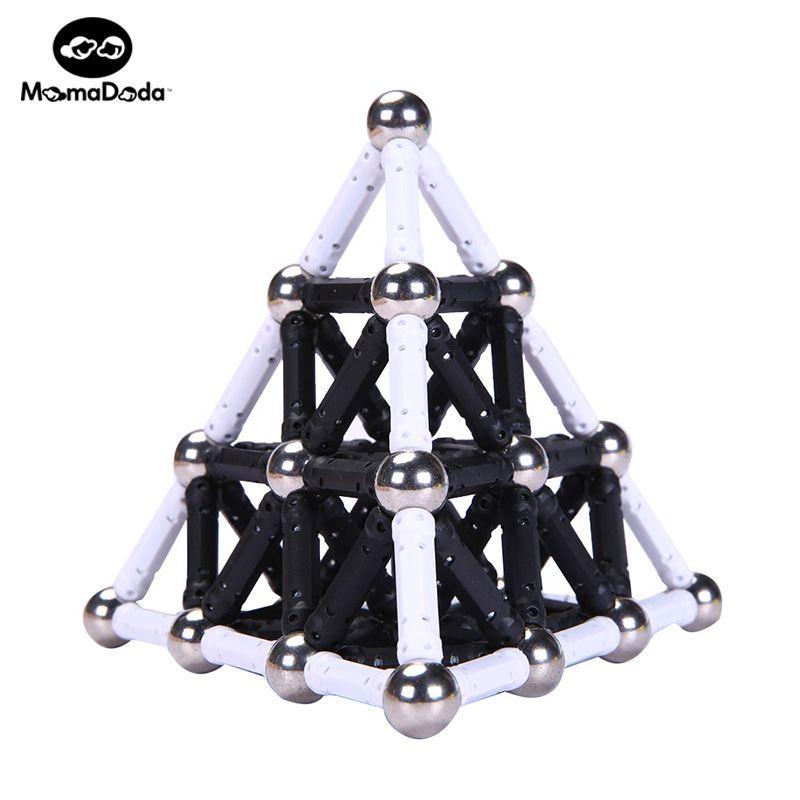 White Black Magnet Sticks Bars & 12MM Metal Balls Magnetic Building Blocks Toys For Kids Designer Construction Christmas Gift