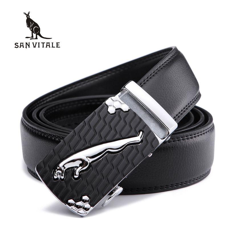 SAN VITALE Men Belts Genuine Leather Luxury Designer Strap Male Belt for Man Automatic Buckle Jeans Cintos <font><b>Masculinos</b></font> Ceinture