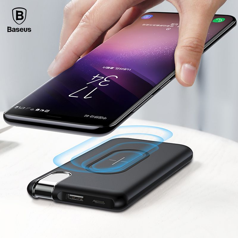 Baseus QI Wireless Charging Power Bank Charger For iPhone X 8 Samsung S9 S8 S7 Mobile Phone Powerbank Battery Wireless Charger