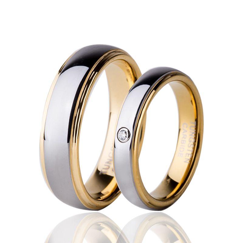 Bague Couple couleur or Zircon cubique tungstène ensemble pour Alliance bijoux amoureux Anillos 4mm pour femmes 6mm pour hommes