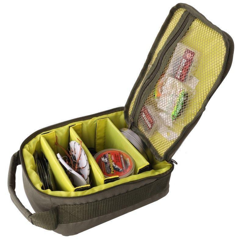 Fishing Reel Bag 4-Layer 600D Oxford Cloth Handled Dual Zipper Outdoor Storage Case Container For Line Bait Fishhooks H3
