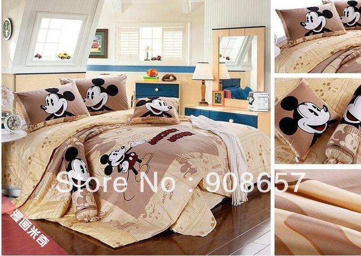 twin full queen king duvet covers cartoon bedding set cute brown mickey mouse print children's girl's boy's bed linens 3pcs 4pcs