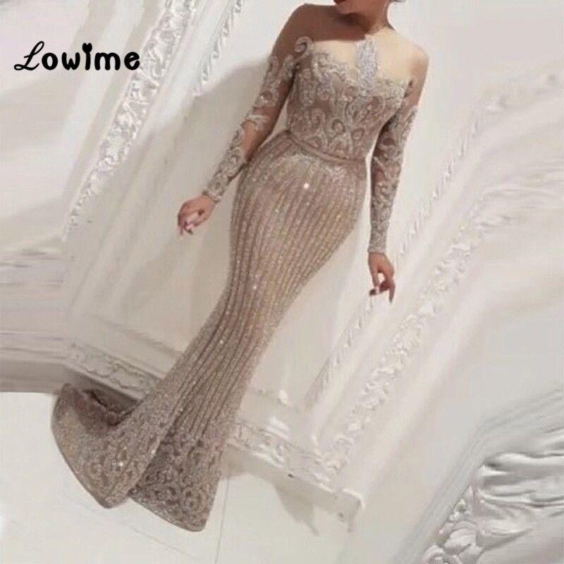 Illusion Langen Ärmeln Meerjungfrau Arabisch Dubai Frauen Abendkleider Abendkleider Kleid Elegante 2018 Bling Stoff Party Kleider