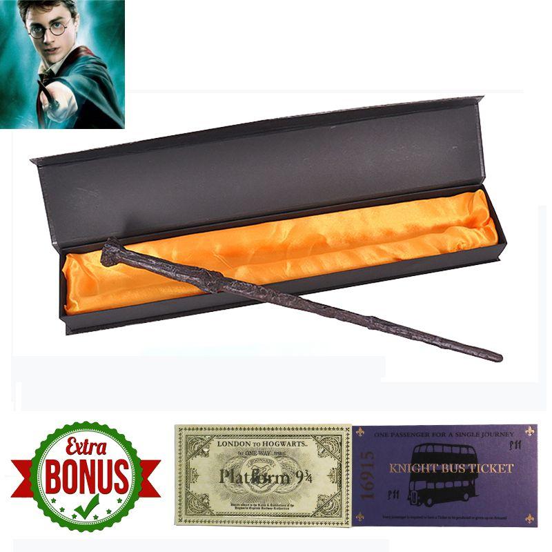 17 Kinds of Harri Potter Magic Wand with Box Voldemort Ron Hermione Dumbledore Luna Magic Wand Hogwarts Train Ticket