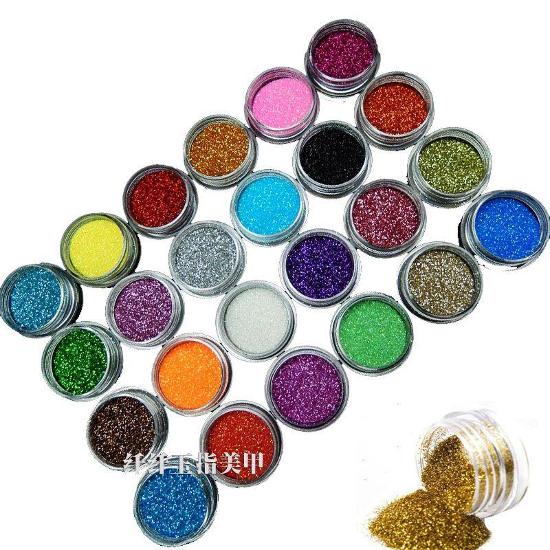 Nouveau 24 Couleur Métal Glitter Nail Art Dust Outil Kit Acrylique UV Poussière de Poudre de perle Vernis À Ongles Outils Nail Art décoration Nail Glitter