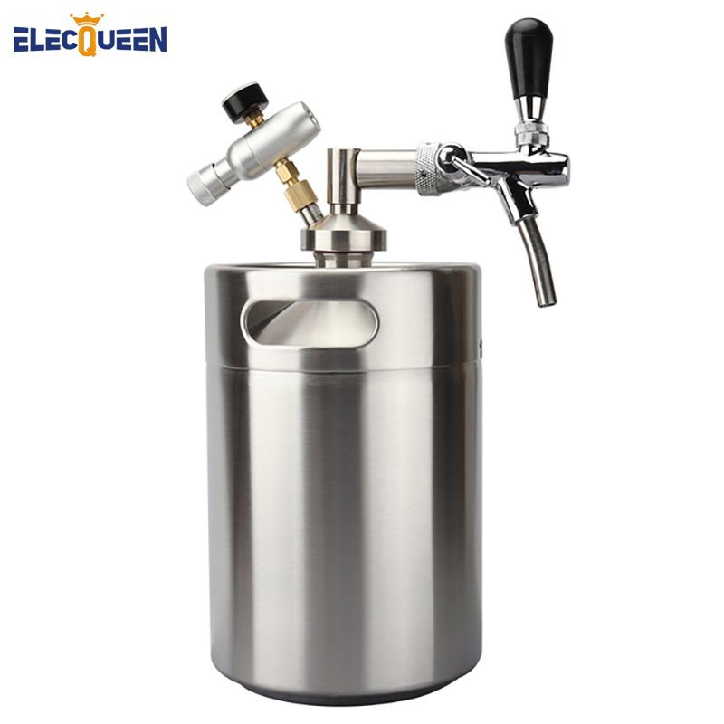 Newest Stainless Steel 5L Mini Keg Growler + Mini Tap Dispenser with Adjustable Beer Tap Faucet + Co2 keg charger kit