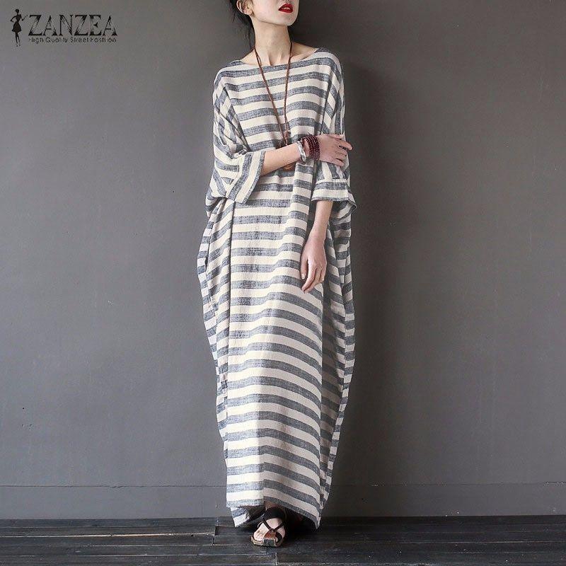 Women Elegant <font><b>Striped</b></font> Print Dress 2018 Spring ZANZEA Casual Loose O Neck Batwing Sleeve Maxi Long Dress Vestidos Plus Size
