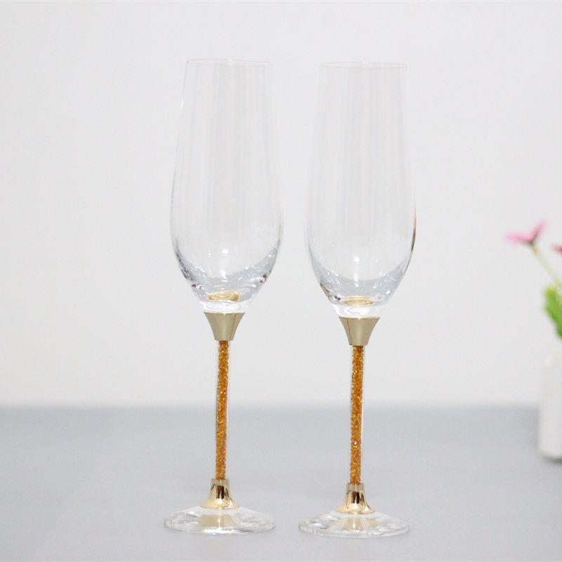 Verres à vin de grillage de mariage cadeaux de gobelet en cristal verres à boire ensemble tige de couleur or